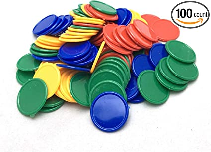 20 x Plastic Gaming Chips and Counters for Games Maths and Craft Projects