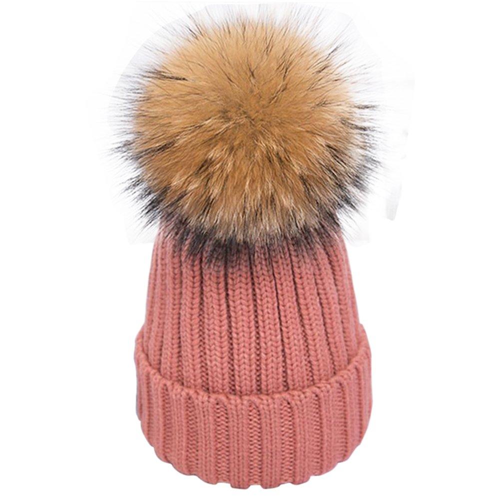 f974f75e317 Faux Fur Pom Pom Girls Beanie Hat