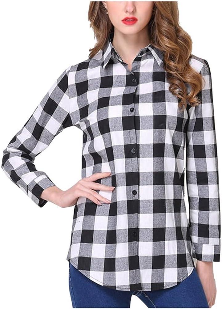 SYGoodBUY Blusa de Mujer de Manga Larga a Cuadros Camisa de Cuello a Cuadros Blusa Chic Primavera Verano (Color : En Blanco y Negro, Tamaño : Metro): Amazon.es: Ropa y accesorios