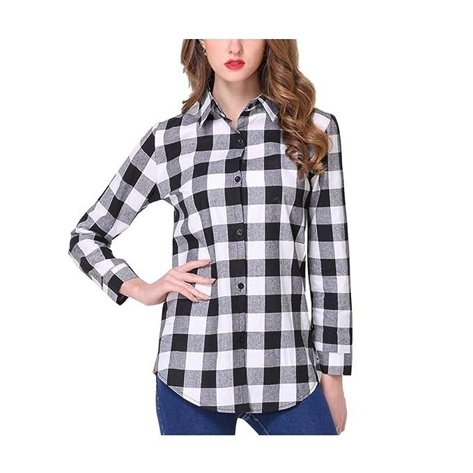24328161dd FuweiEncore Blusa de Mujer de Manga Larga a Cuadros Camisa de Cuello a  Cuadros Blusa Chic Primavera Verano  Amazon.es  Ropa y accesorios