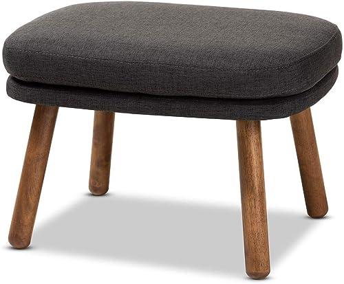 Baxton Studio Lovise Mid-Century Modern Dark Grey Fabric Upholstered Walnut Brown Finished Wood Ottoman