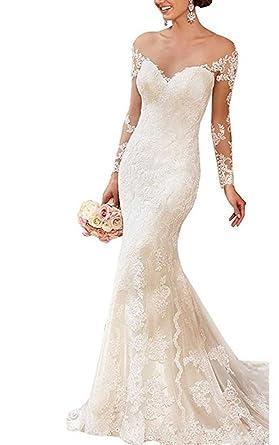 Kiss Rain Off Shoulder Lace Mermaid Wedding Dresses Long Sleeve ...