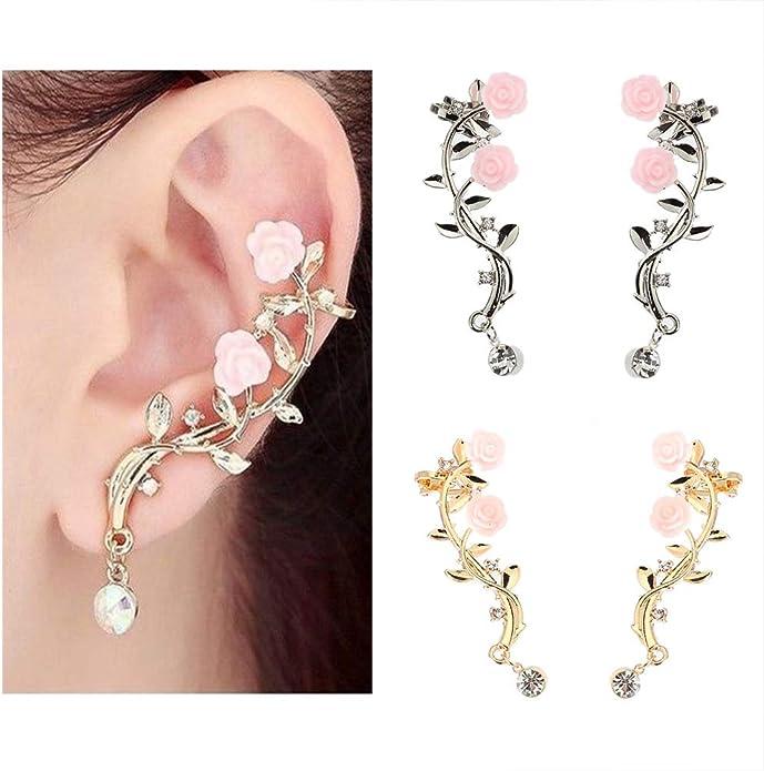 Golden 856store Elegant Vintage Women Rose Flower Branch Rhinestone Climber Crawler Earrings Ear Jewelry
