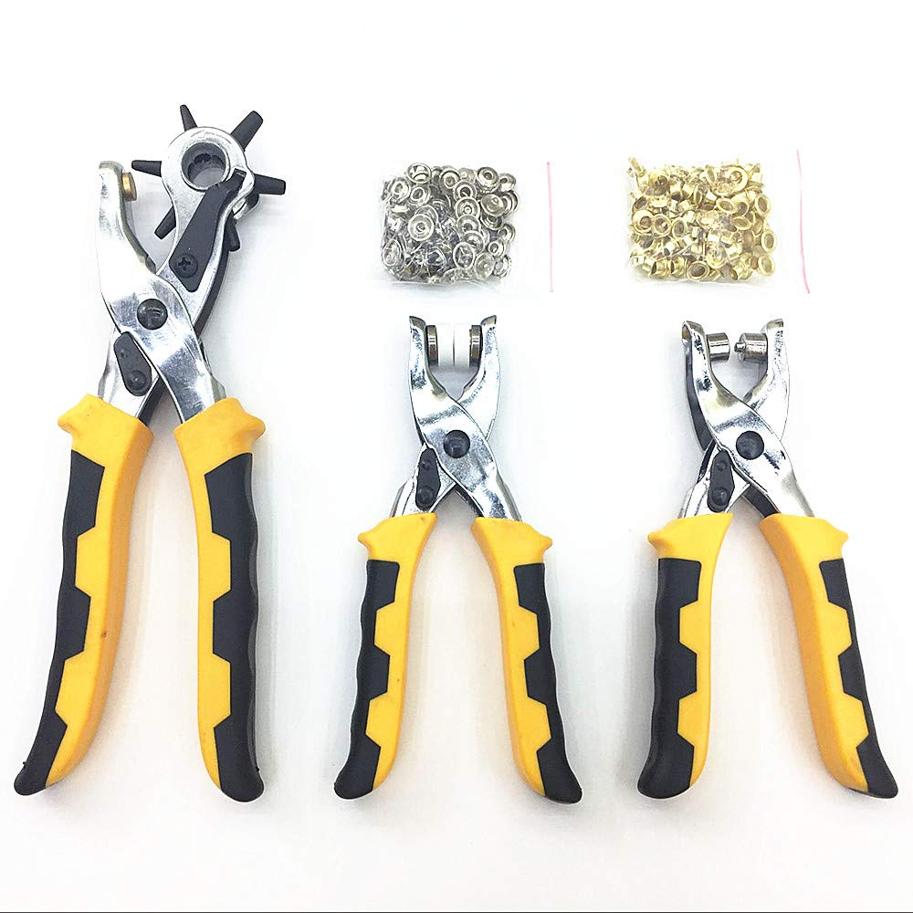 3 Pieces 3 in 1 Multi-function Card Leather Belt Hand Tool Hole Punch +Eyelet Pliers +Snap Button Setter Tool Kit