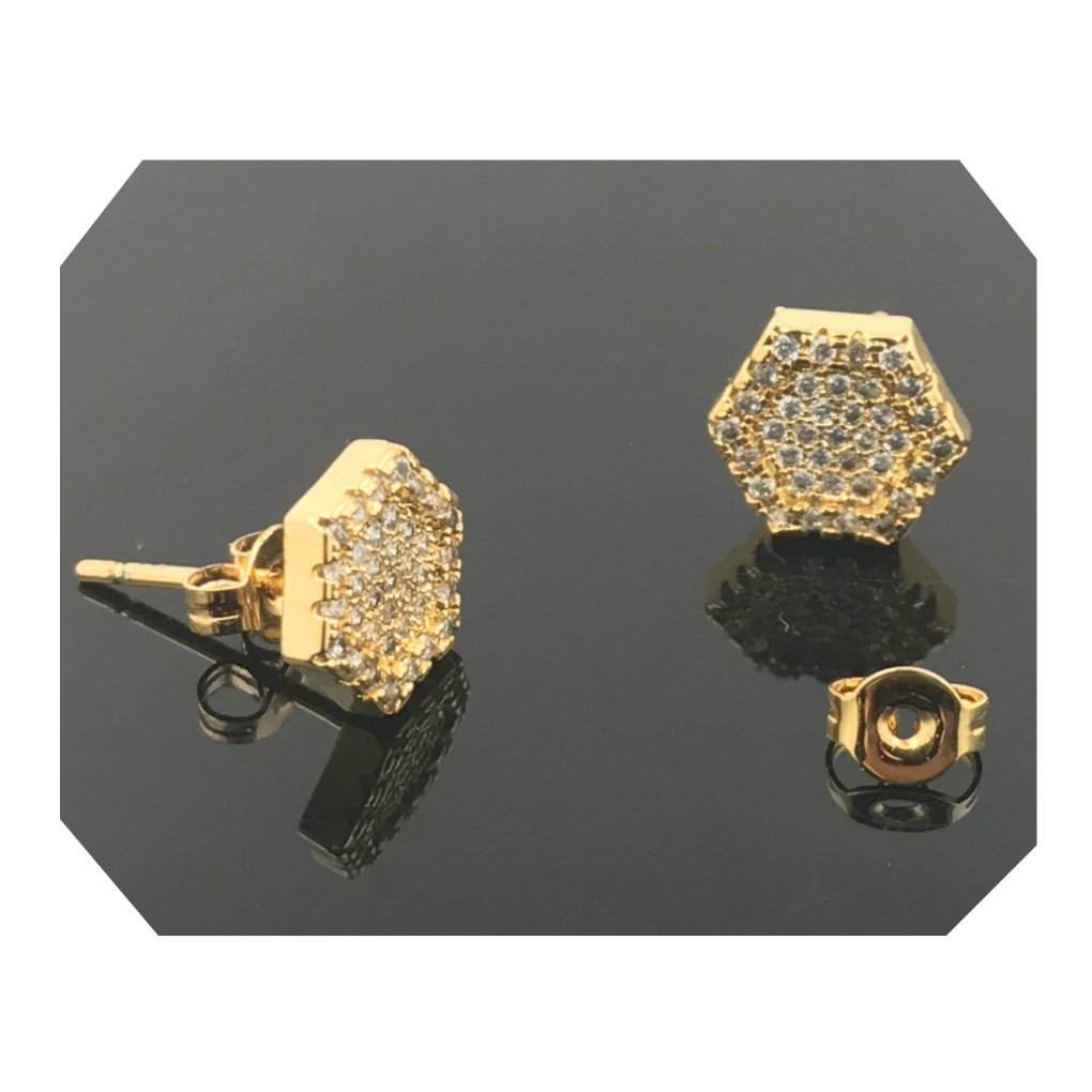 Gold Filled Earring With Lab Simulated Diamonds Suitable for Men/Women