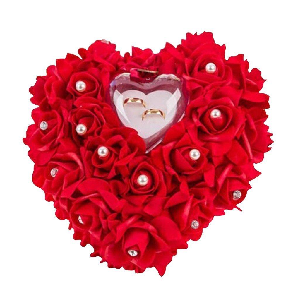 Woneart Romántica Almohada Anillo de Boda Forma corazón Anillo Cojín Almohada Anillo Cojín Caja Decoración Regalo para Boda Nupcial Ceremonia 7577167669744