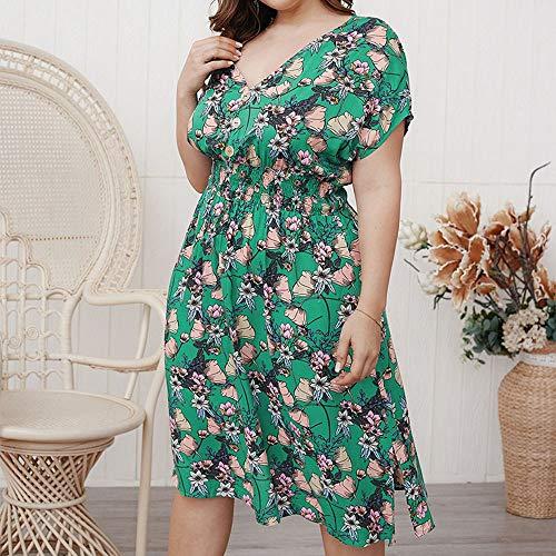 Timagebreze Vestido Largo Floral Sexy Vestido Largo De Verano Para Mujer Vestido Midi Con Cuello En V Tallas Grandes Vestidos De Mujer Talla Grande