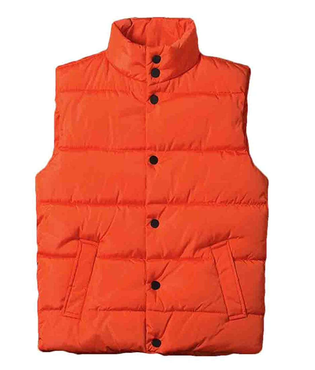 KLJR Men Stand Collar Thick Quilted Sleeveless Winter Slim Fit Down Puffer Vest