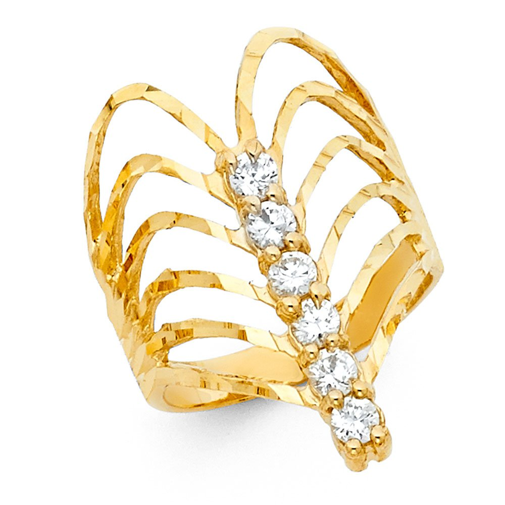 Semanario Ring 14k Yellow Gold CZ Fancy Band Stackable Look Diamond Cut Fashion Style Size 9 by ZenJewels