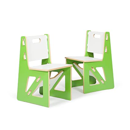 Amazing Sprout Kids Chairs, Green And White, 2 Pack