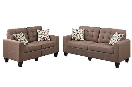 Poundex F6904 Bobkona Windsor Linen Like 2 Piece Sofa And Loveseat Set,  Light Coffee