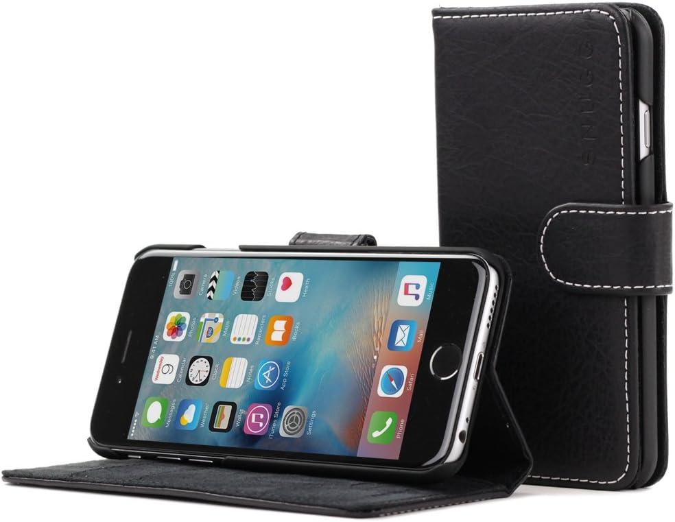 iPhone 6 Plus and 6S Plus Case, Snugg Blackest Black Leather Flip Case [Card Slots] Executive Apple iPhone 6 Plus and 6S Plus Wallet Case Cover and Stand - Legacy Series