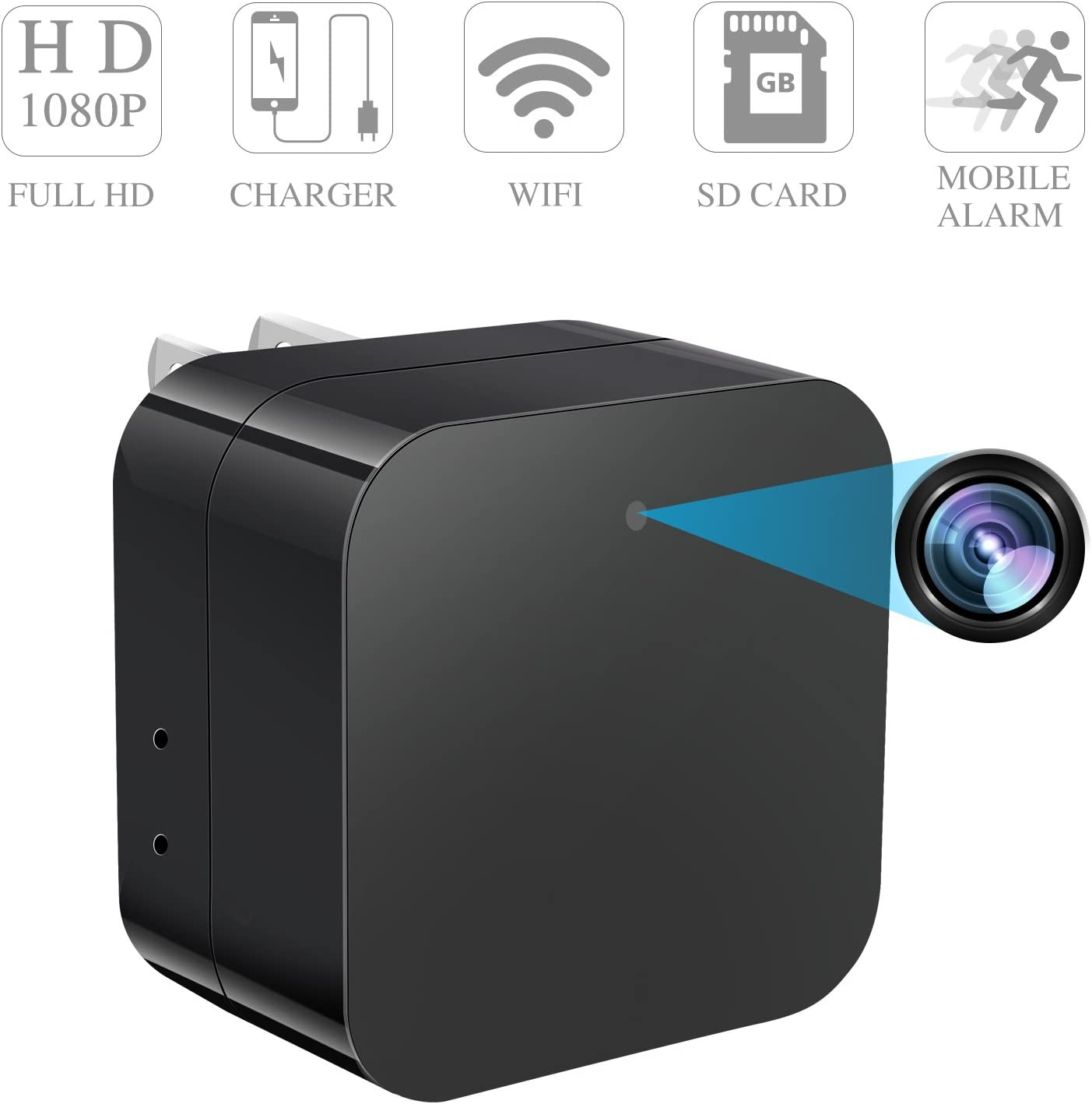 Upgraded Version Prompt Hidden Spy Camera Wireless Hidden USB Wall Charger Camera 1080P HD Nanny Cam with Cell Phone App Mini Spy Camera WiFi Motion Detection Home Surveillance