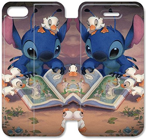 Flip étui en cuir PU Stand pour Coque iPhone 5 5S, bricolage 5 5S étui de téléphone cellulaire Lilo et Stitch Stich a un cas Glitch Z1L5SL Conception Retour