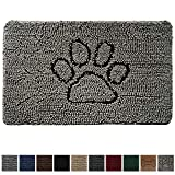 Gorilla Grip Original Indoor Durable Chenille Doormat, Large, 36x24, Absorbent, Machine Washable Inside Mats, Low-Profile Rug Doormats Great for Pets, Dogs, Entry, Mud Room, Back Door, Paw Gray
