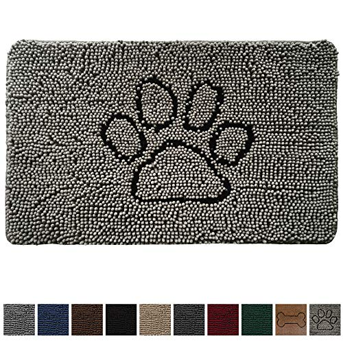 Gorilla Grip Original Indoor Durable Chenille Doormat, 48x30, Absorbent, Machine Washable Inside Mats, Low-Profile Rug Doormats for Entry, Mud Room Mat, Back Door, High Traffic Areas, Paw Gray