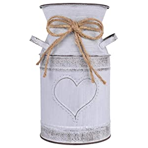 """IDoall 7.5"""" High Decorative Vase with Unique Heart-Shaped and Rope Design, Galvanized Finish- Rustic Decorated for Living Room, Bedroom, Kitchen (Grey)"""