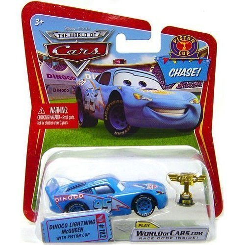 Disney / Pixar CARS Movie 1:55 Die Cast Car Dinoco Lightning McQueen with Piston Cup Chase Piece! by Mattel ()