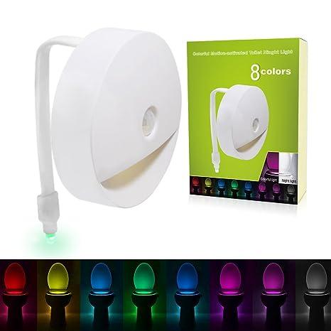 VICTORSTAR Lámpara WC, Luz de la Noche del Inodoro, Activado por Movimiento y Sensor