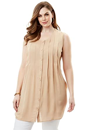 b1ac32273aa30 Roamans Women s Plus Size Sleeveless Angelina Tunic at Amazon Women s  Clothing store