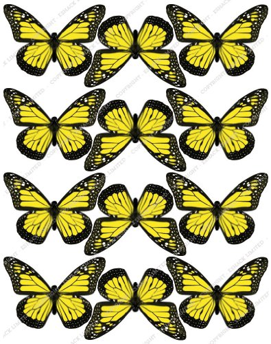 Cakeshop 12 x PRE-CUT Yellow Edible Butterfly Cake