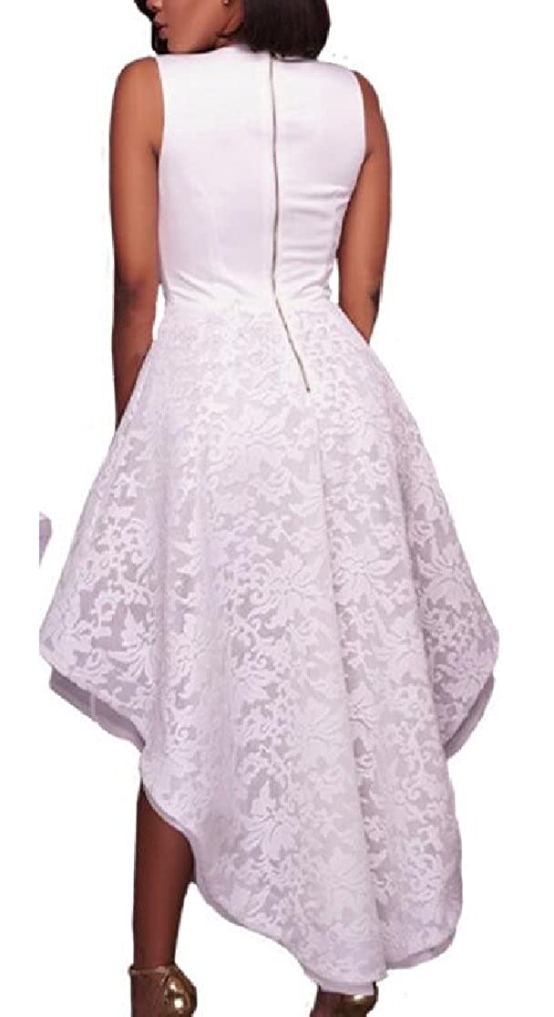 M/&S/&W Women V-Neck Lace Wedding Dress Beaded High Low Evening Gown