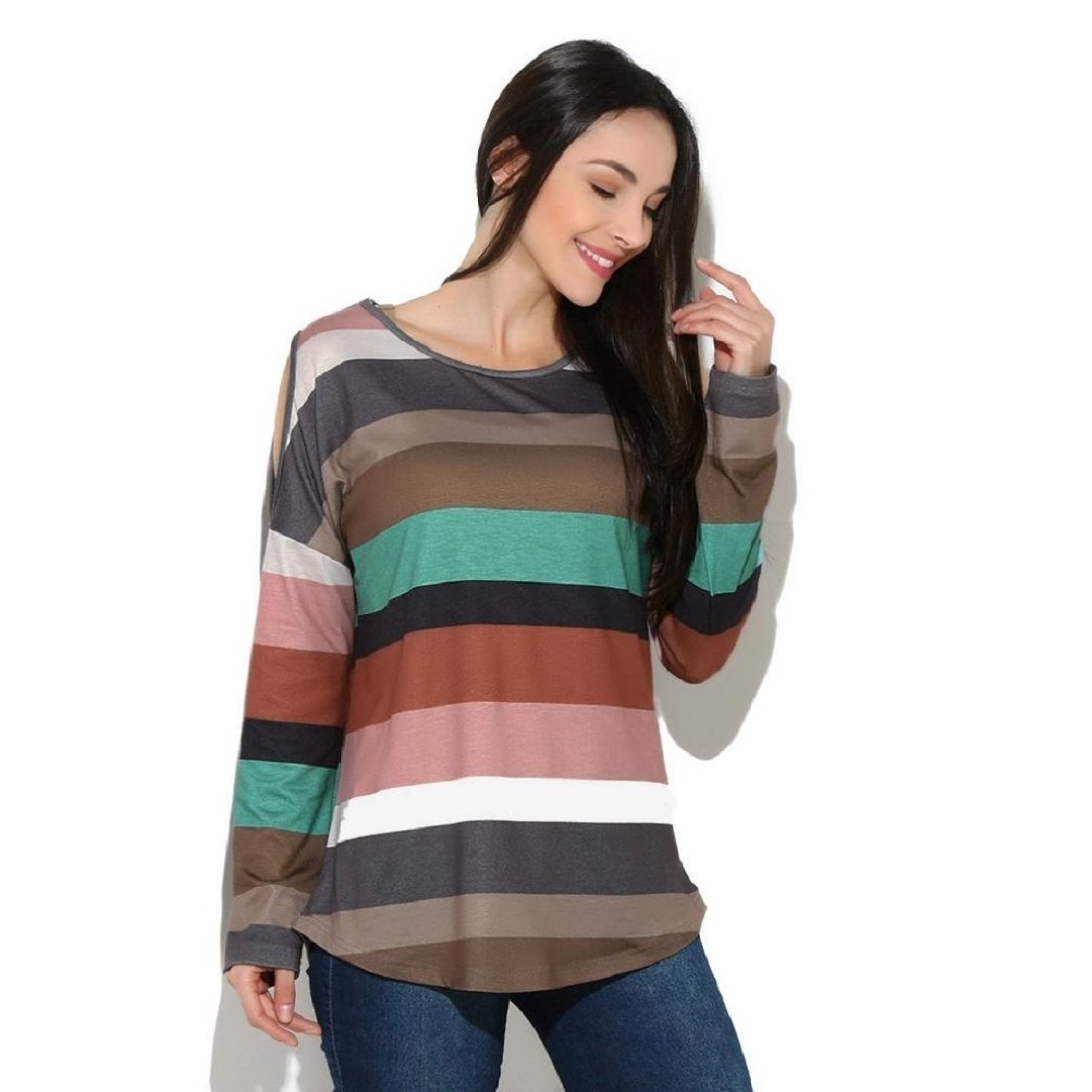 0e9b5846784 GONKOMA Women s Long Sleeve Tops Summer Strapless Rainbow Striped Blouse  Loose Casual T Shirt Pullovers at Amazon Women s Clothing store