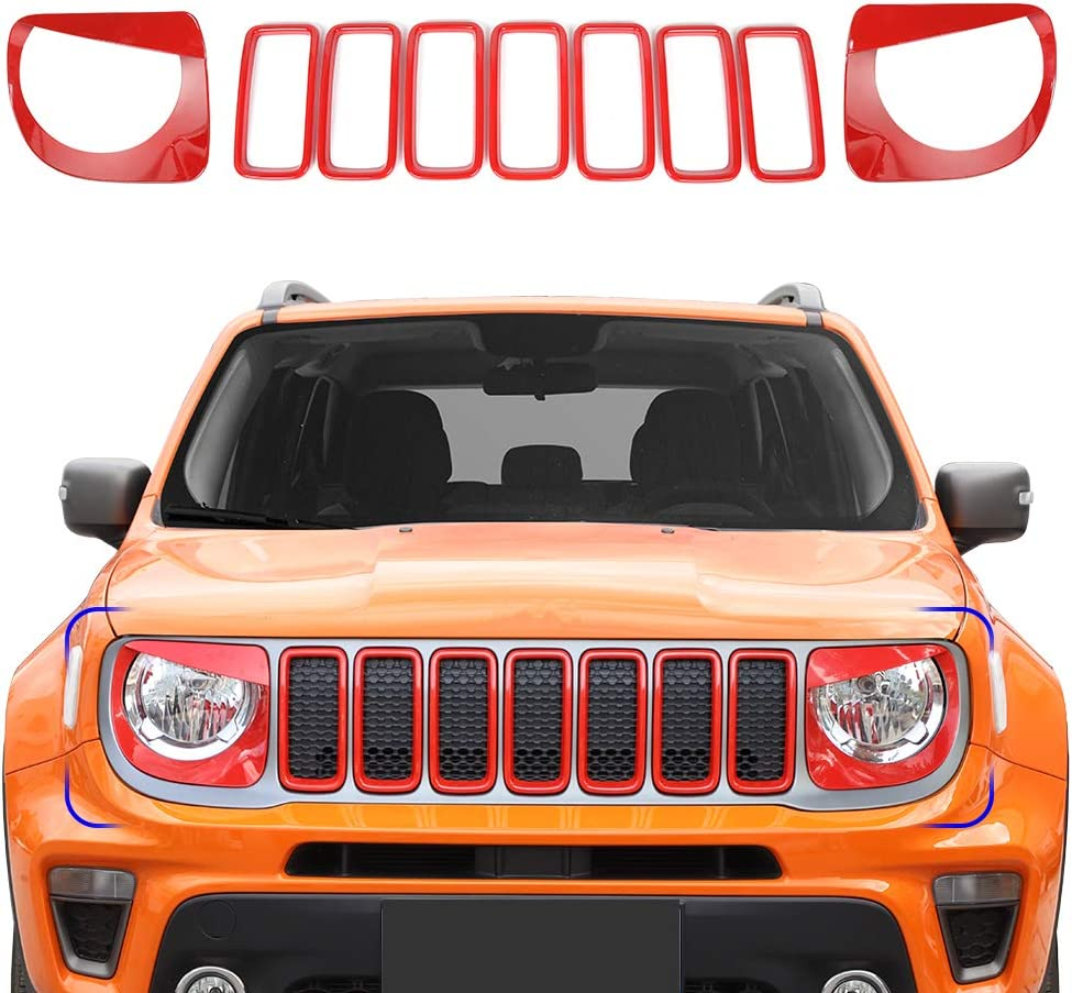 for Jeep Renegade 2019 2020 Front Grille Inserts Angry Bird Headlight Bezels Kit ABS Red 9 pcs