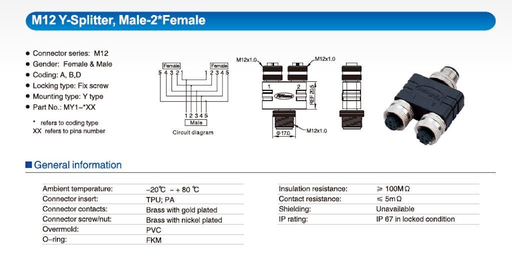 Amazon.com: Finecables 2 Way Multiport M12 Connector (Male Plug to on