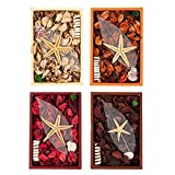 Juvale Set of 4 Scented Potpourri Boxes - Potpourri for Bathroom, Fragrance Box for Living Room, Office, Bedroom, Assorted Colors and Fragrances - 6 x 1.5 x 9 Inches