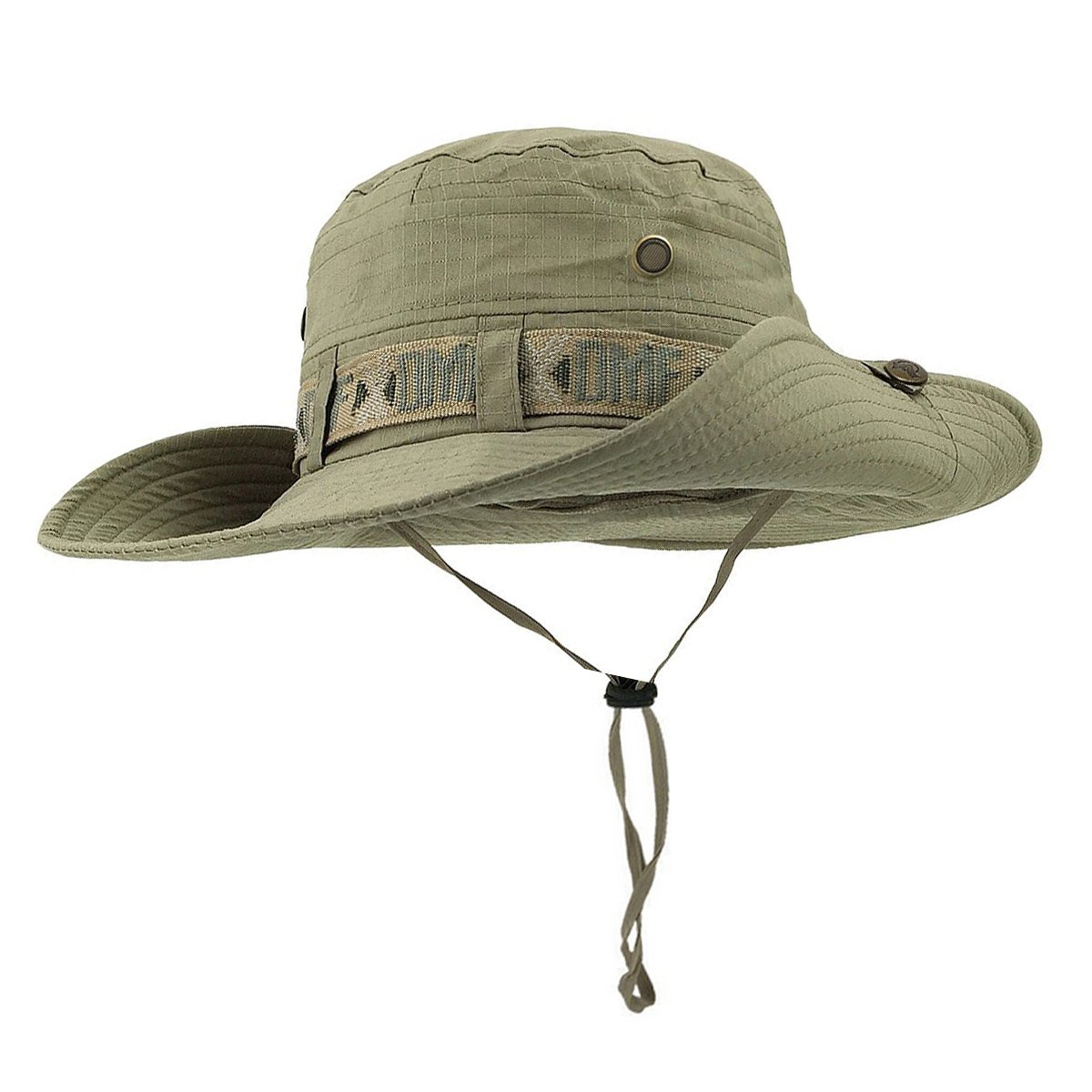 6f256919607e3 Amazon.com   Fishing Hat Boonie Hat Summer Wide Brim Bucket Hat Sun UV  Protection Safari Cap Outdoor Waterproof Hunting Hat (deep greed)   Sports    Outdoors
