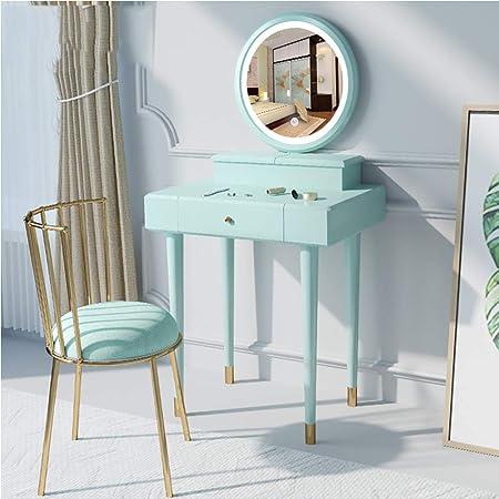 ZZAZXB Tocador Maquillaje con luz, Green Madera Maciza Cosmética ...