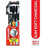 (Pack of 3) - Colgate Slim Soft Charcoal Toothbrush (Pack of 3) 17x Slimmer Soft Tip Bristles
