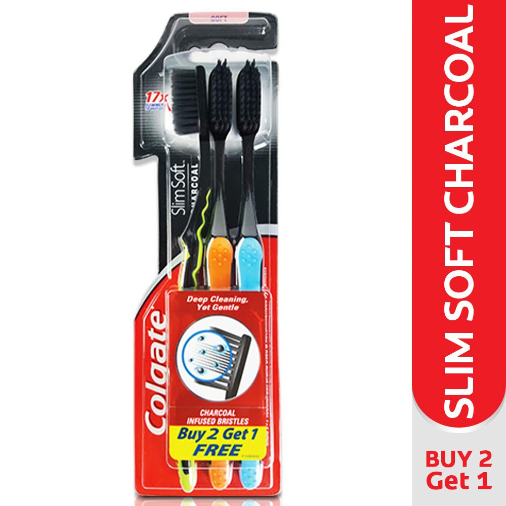 Colgate Slim Soft Charcoal Toothbrush (Pack of 3) 17x Slimmer Soft Tip Bristles