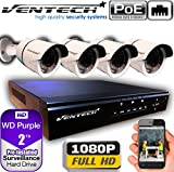 VENTECH POE Security Camera System 8CH NVR 1080P CCTV Kit with 4 Bullet Cameras Outdoor (2.0MP) 2TB H-Drive, Easy Remote Smartphone Access,100ft Night Vision