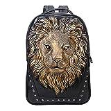 BURNING SECRET Men Leather Laptop 3D Backpack lion head Casual School Travel Bag