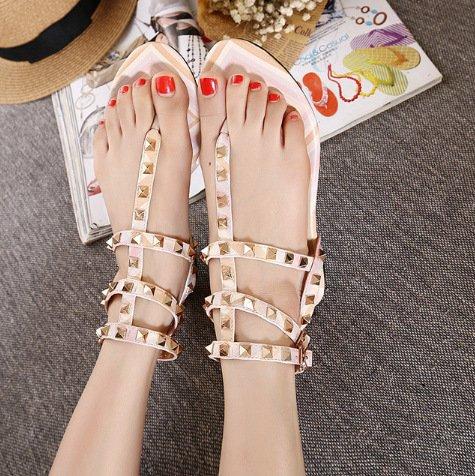 RUGAI-UE Zapatos de mujer,sandalias de playa,Roma clavos,zapatos de mujer. Apricot color