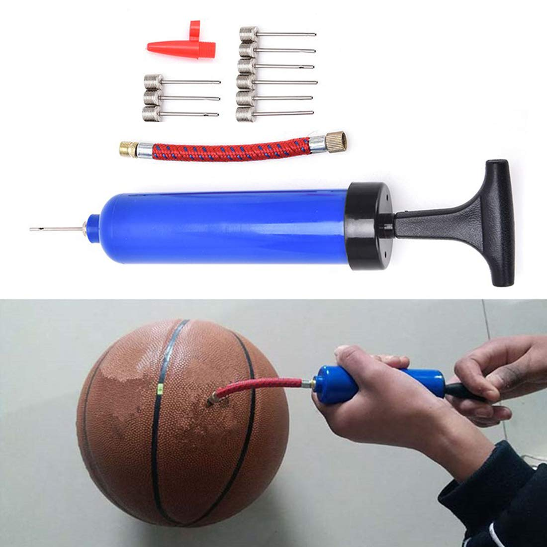 H/&S 2 Inflator Ball Pump with Needle Pins Valve Adapter Adaptor Set for Football