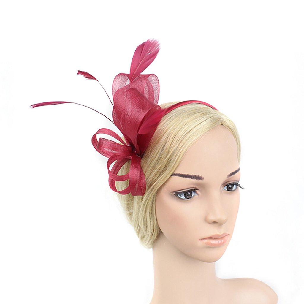 Women's Fascinators Hat Headwear Flower Mesh Feathers Headband Headwear For Cocktail Tea Party Hair accessories (Color : Grey) LYQ Hat