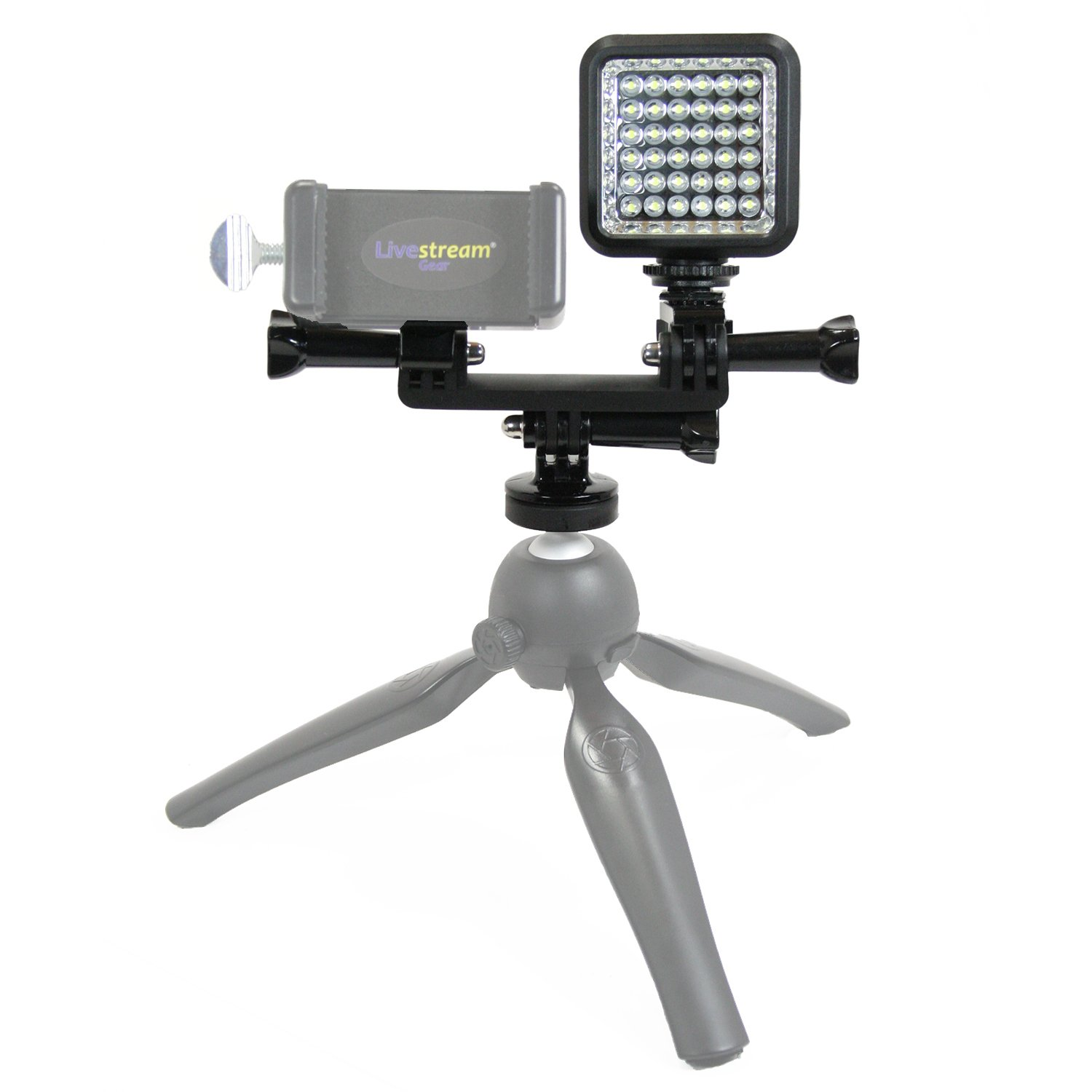 Livestream Gear - LED Dual Mount Add-On for Smartphone Tripod Setup. Enhance The Quality of Your LiveStream or Video. Also Works with Sport Cameras and DLSR. (LED & Dual Mount Add-On) by Livestream