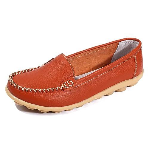 GESIMEI Mujer Cuero Mocasines Loafers Cómodo Zapatos de Conducción Barco Naranja 38: Amazon.es: Zapatos y complementos