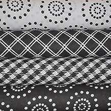 Black and White Fabric Bundle, 4 fat quarter cuts, 100% cotton, 1 yard total