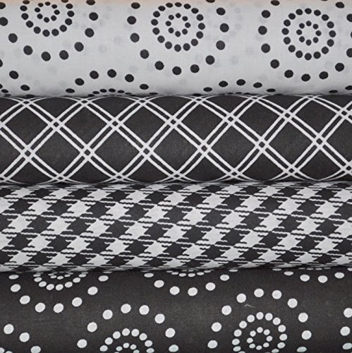 Black Fat Quarter - Black and White Fabric Bundle, 4 fat quarter cuts, 100% cotton, 1 yard total