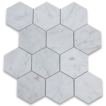 Carrara White Italian Carrera Marble Hexagon Mosaic Tile Inch - Carrera marble look alike