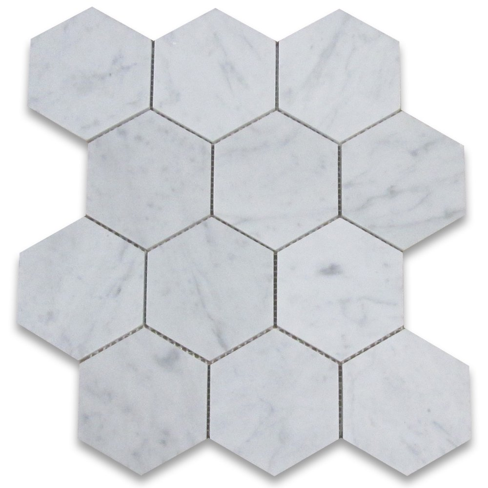 Carrara White Italian Carrera Marble Hexagon Mosaic Tile 4 inch Honed by Stone Center Online