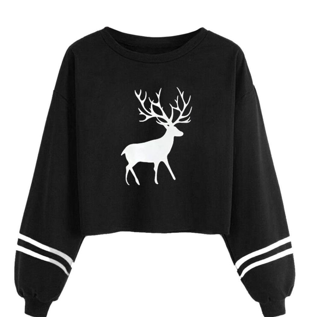 c7d1a82d8e5b8a Amazon.com: Hemlock Sweater Tops Teen, Women Casual Elk Deer Print  Sweatshirt Tops Blouse Cropped Sweater Blouses (Grey, S): Kitchen & Dining