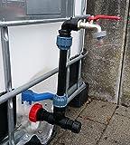 AMKVMK99 Schwanenhals mit Klemmverbindung und Gardena Stecker, IBC-Container-Zubehör-Regenwasser-Tank-Adapter-Fitting-Kanister