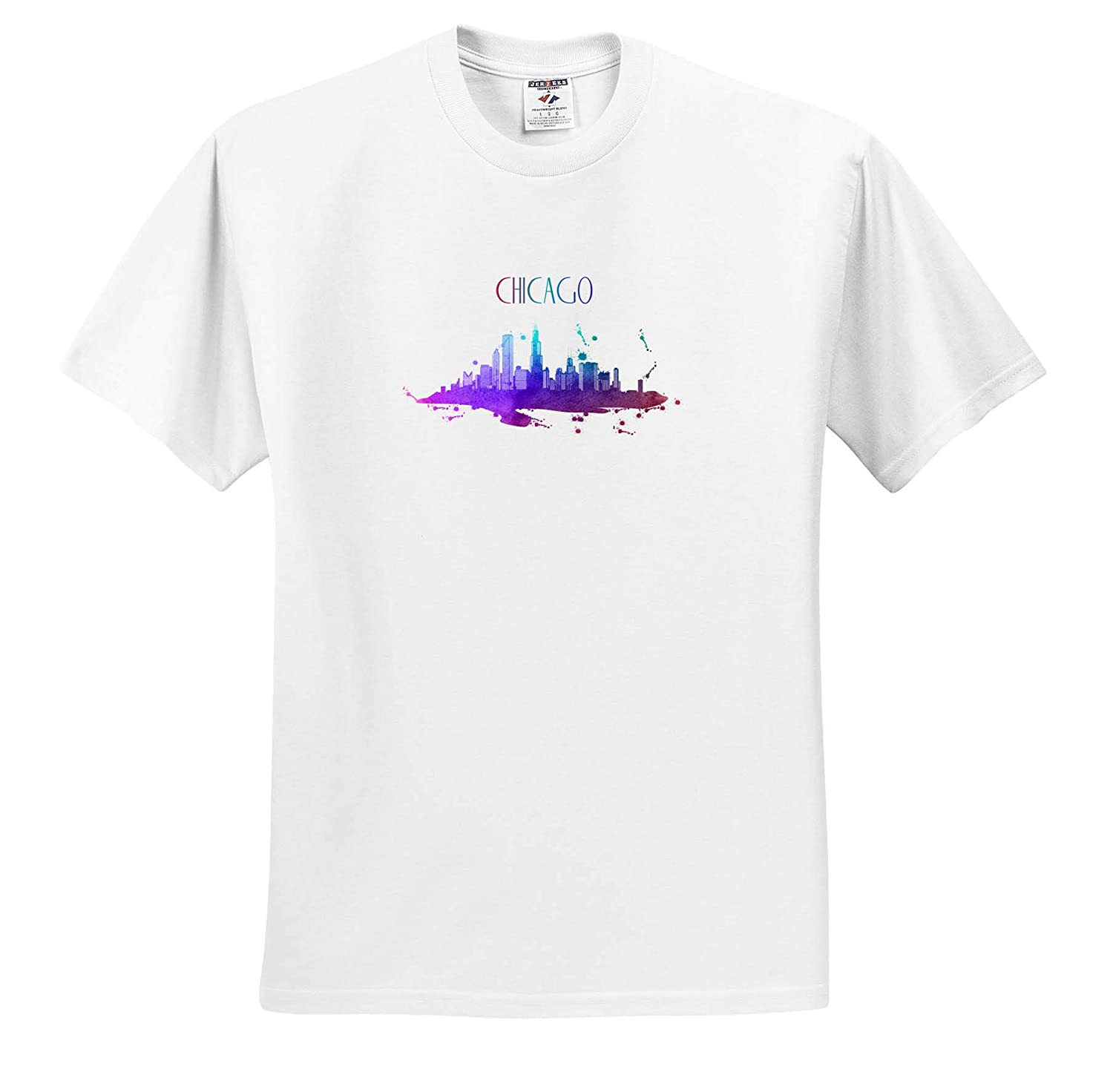 Chicago Skyline with Watercolor Art of United States Adult T-Shirt XL ts/_311017 3dRose Sven Herkenrath City