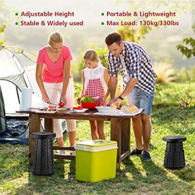 OTHERMAX Retractable Folding Stool, BHMS Portable Sturdy Lightweight Stool Foldable Outdoor Plastic Stools Seat for Camping BBQ Fishing Traveling Garden Kitchen Indoor and More - Max Load 330 lbs : Sports & Outdoors