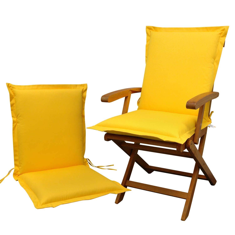Indoba 2 x Sitzauflage Niederlehner Premium Polsterauflagen Gelb